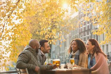 Friends Drinking Beer - Fall